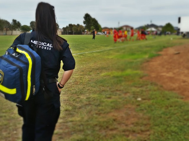medic working at the soccer